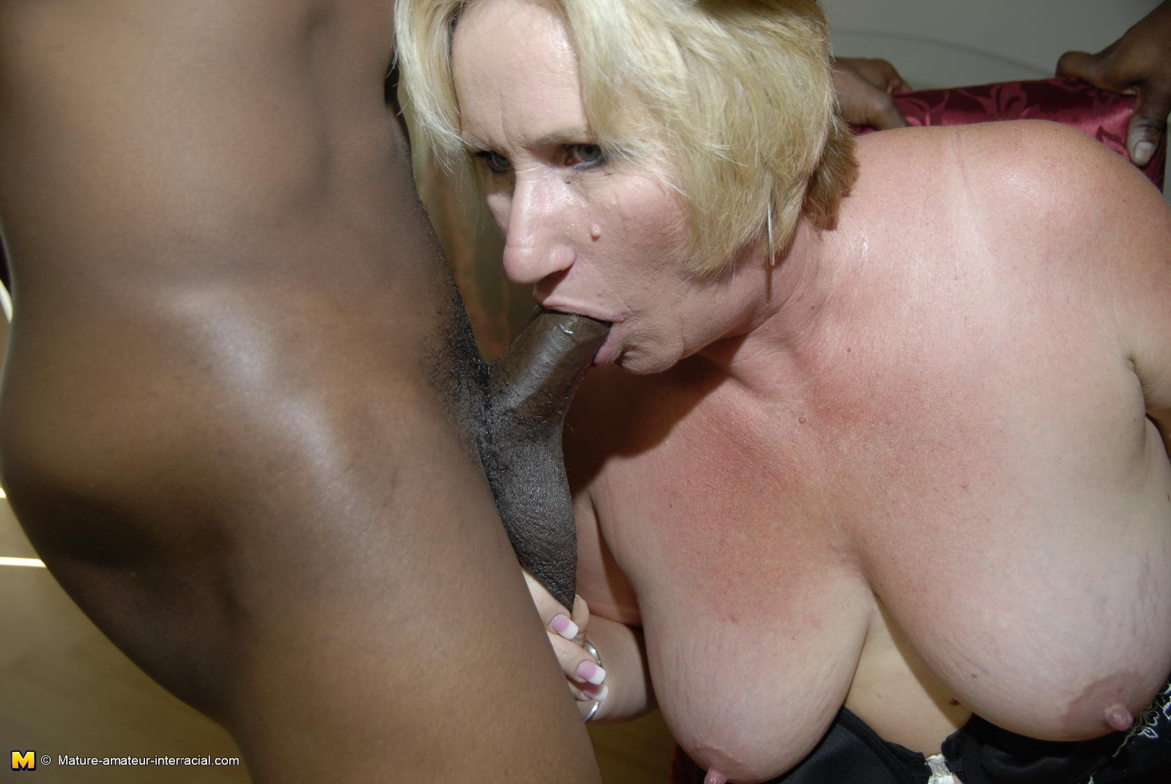 Skinny Mature Pussy Against a Big Black Cock - Free